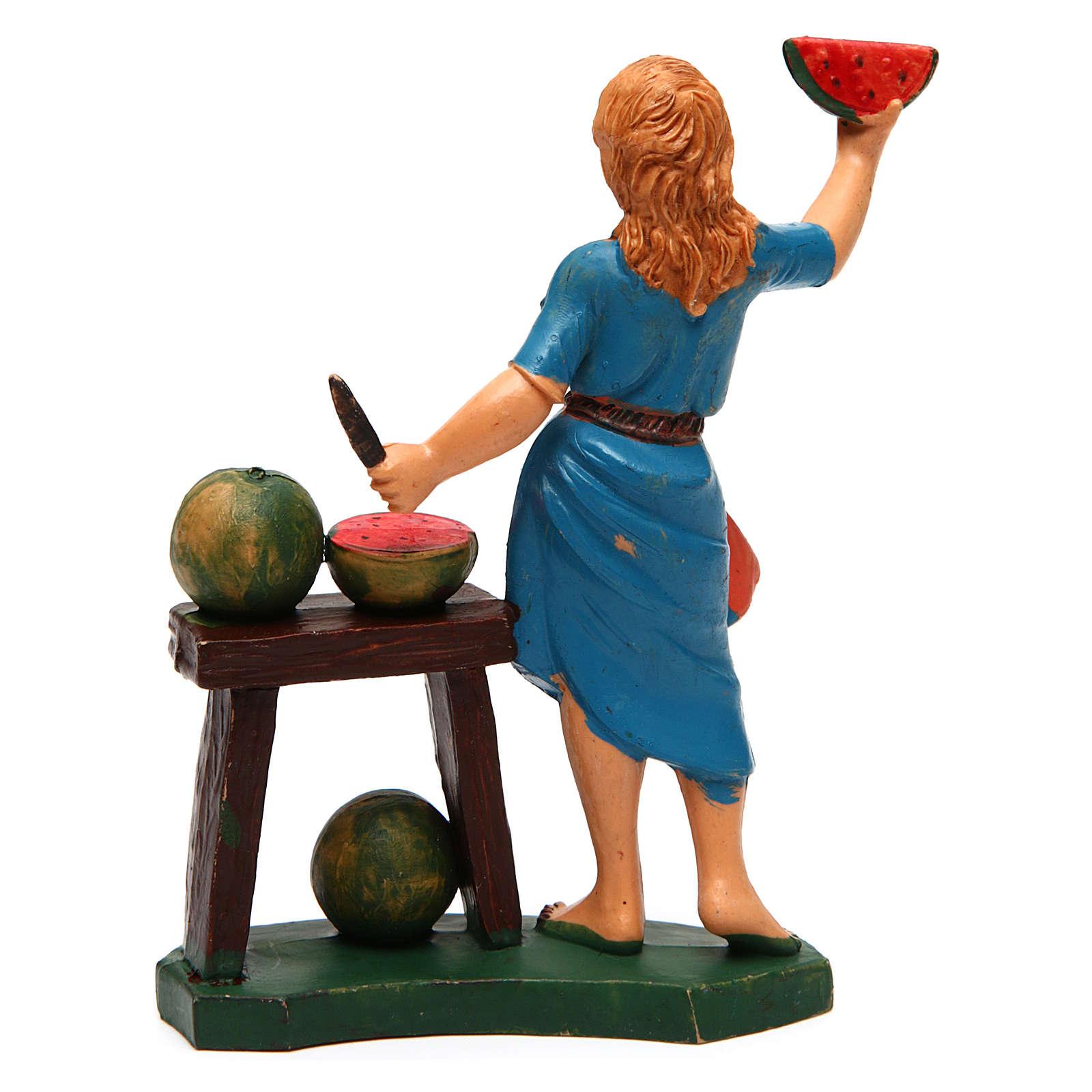 Donna con banco di frutta ideale per presepe di 12 cm 3