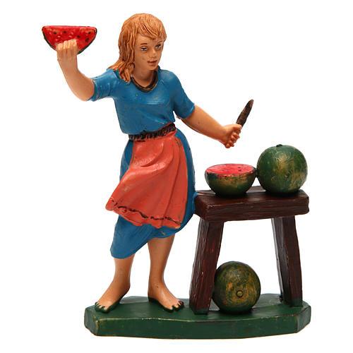Donna con banco di frutta ideale per presepe di 12 cm 1