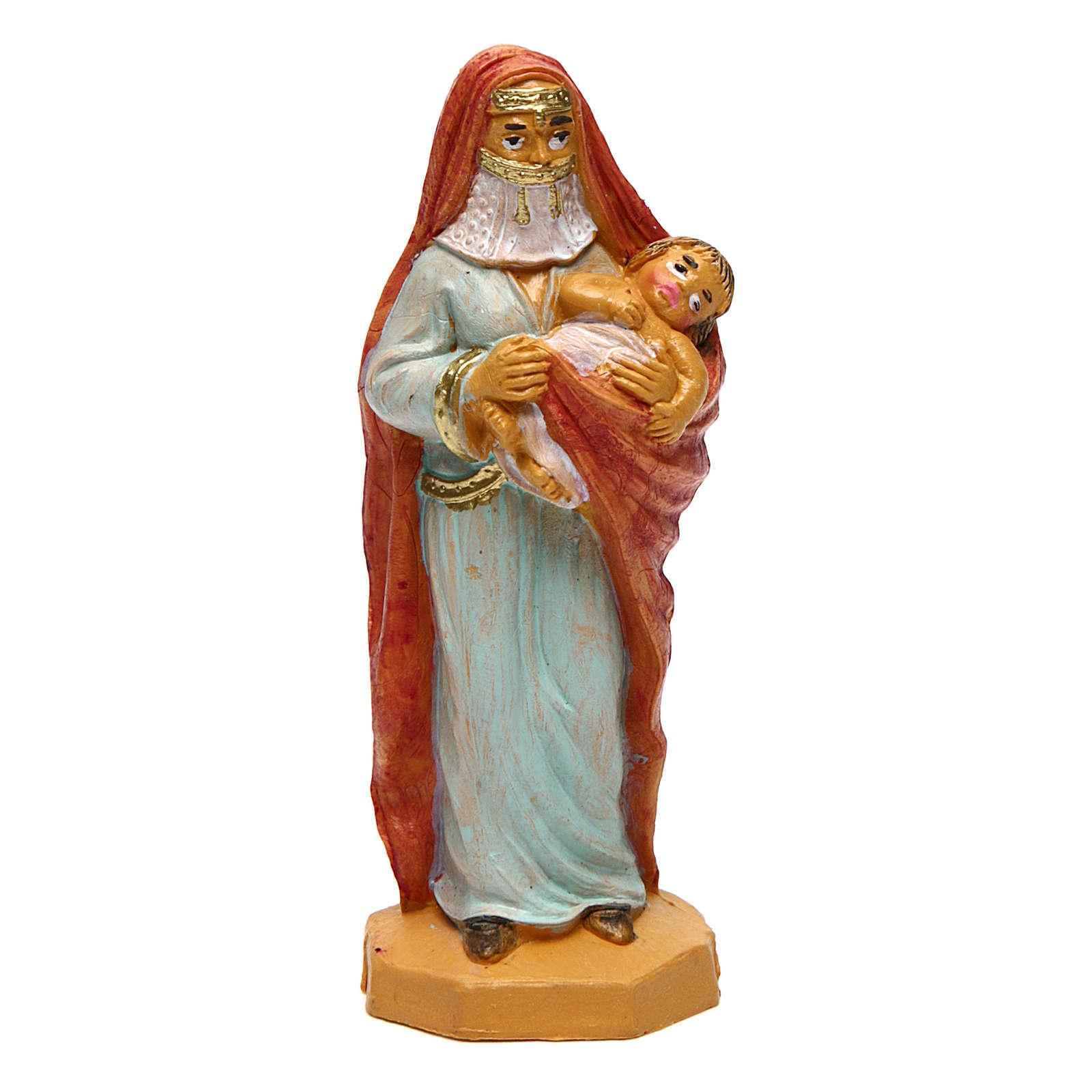Donna con bambino 12 cm presepe 3