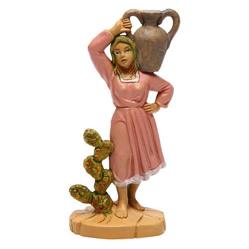 Estatua de mujer con jarrón de 10 cm de altura media belén 1