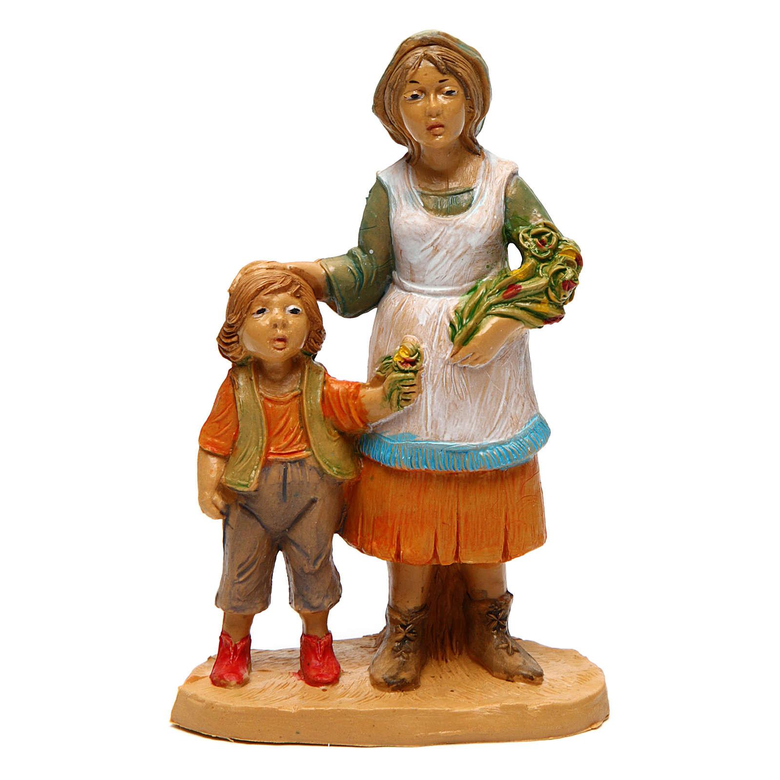 Donna con bambino 10 cm presepe 3