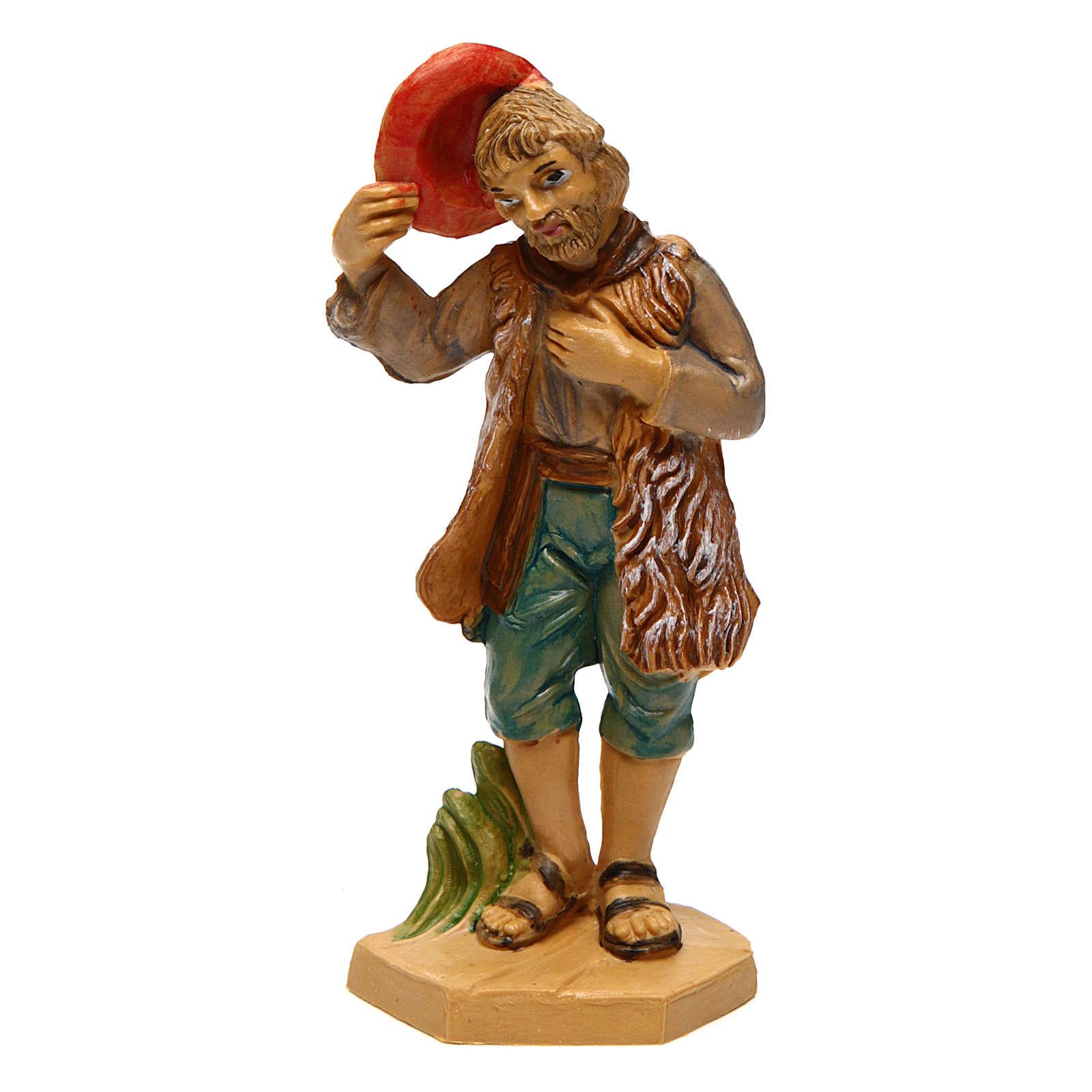 Hombre con sombrero para belén de 10 cm de altura media 3