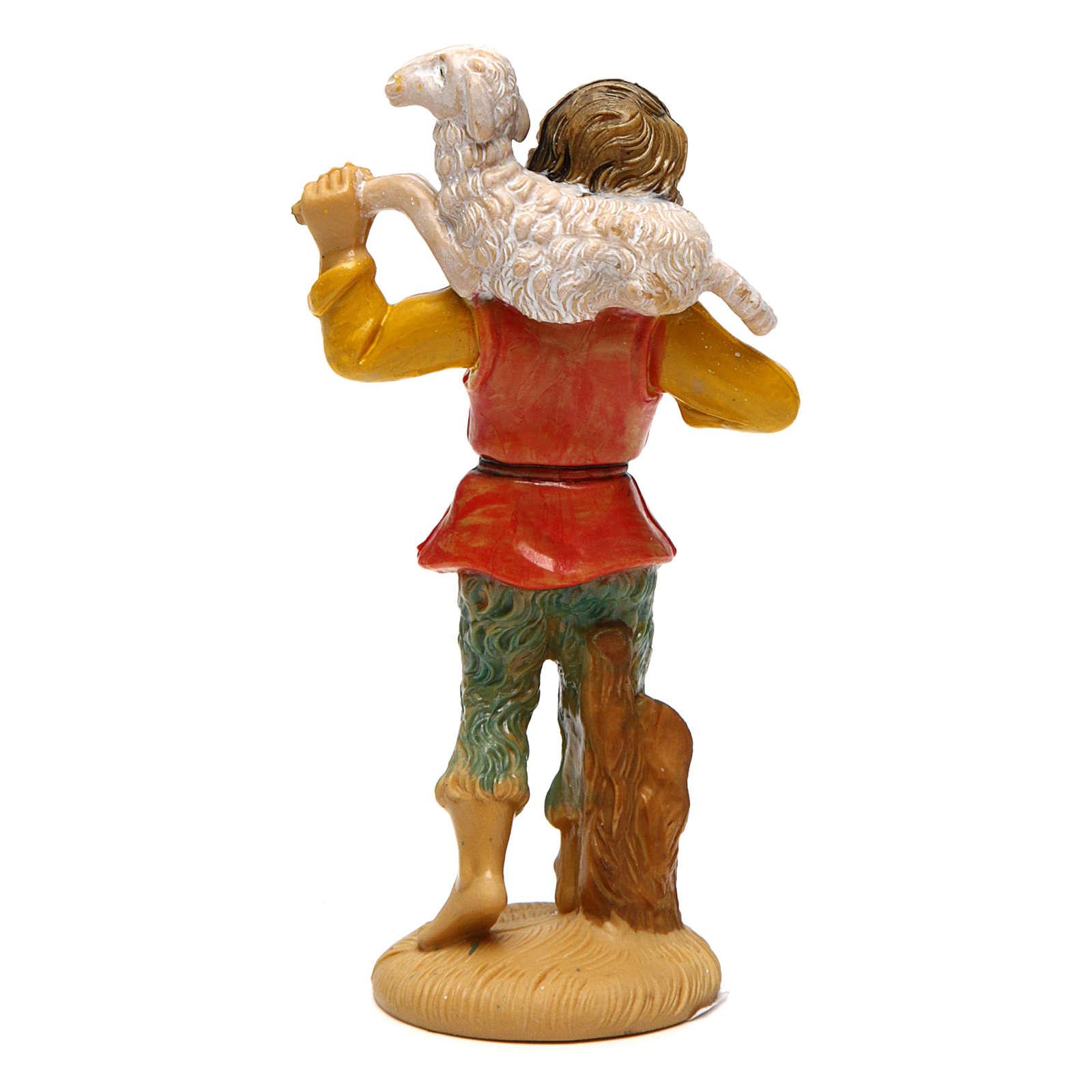 Hombre con oveja para belén de 10 cm de altura media belén 3