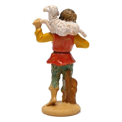 Hombre con oveja para belén de 10 cm de altura media belén 2