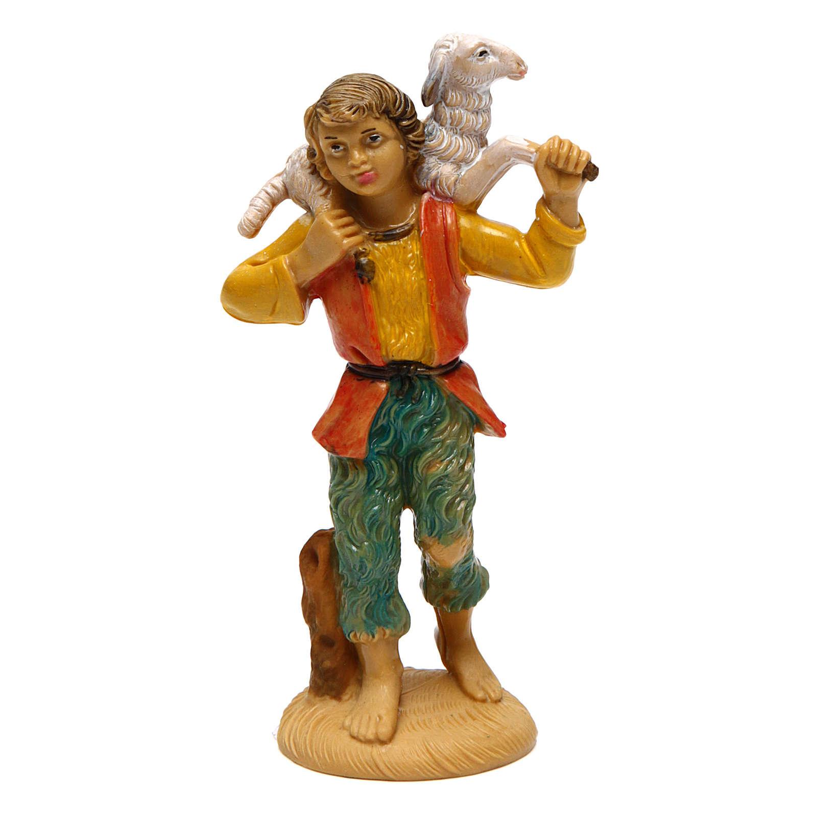 Uomo con pecora per presepe di 10 cm 3