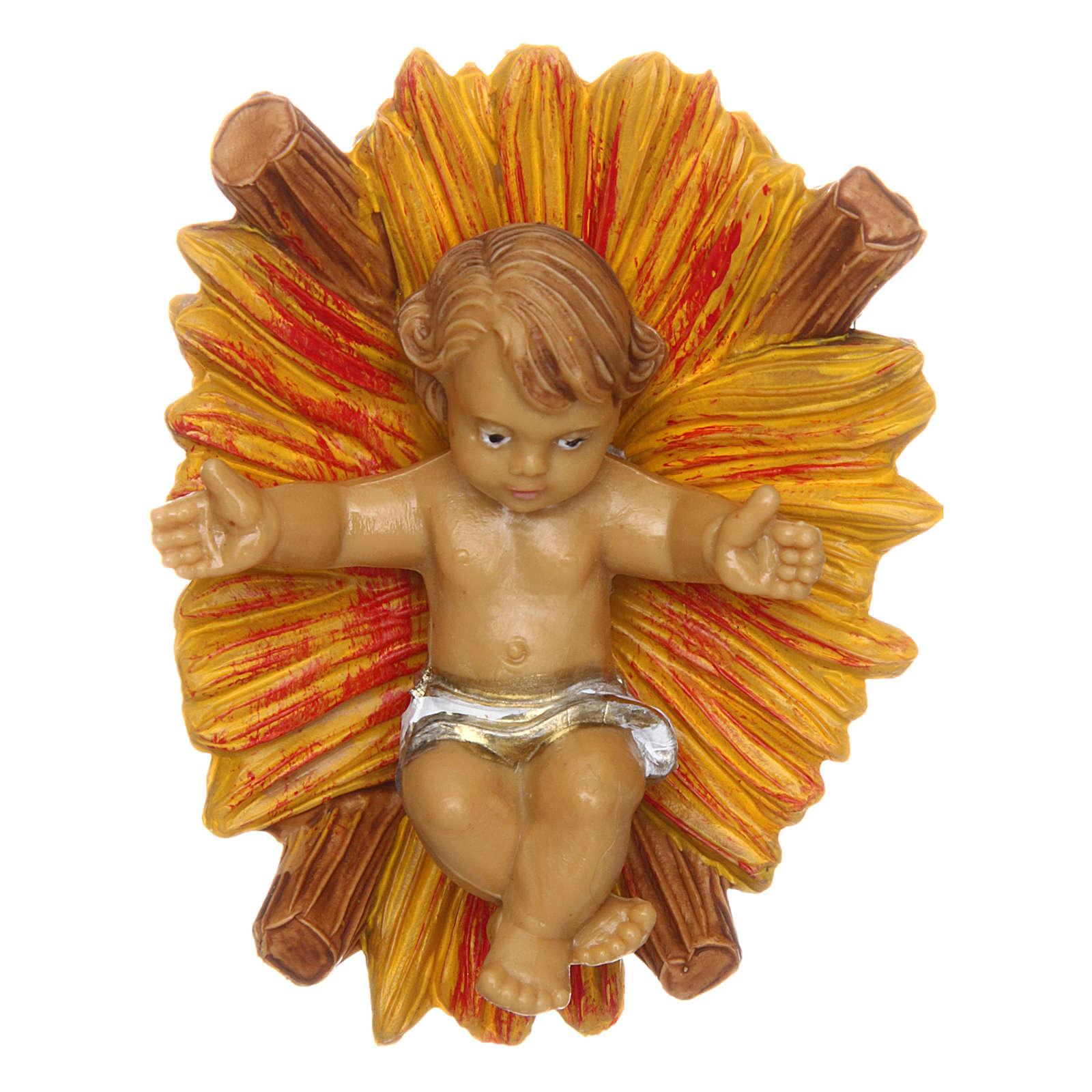 Niño Jesús con cuna de 10 cm de altura media belén 3