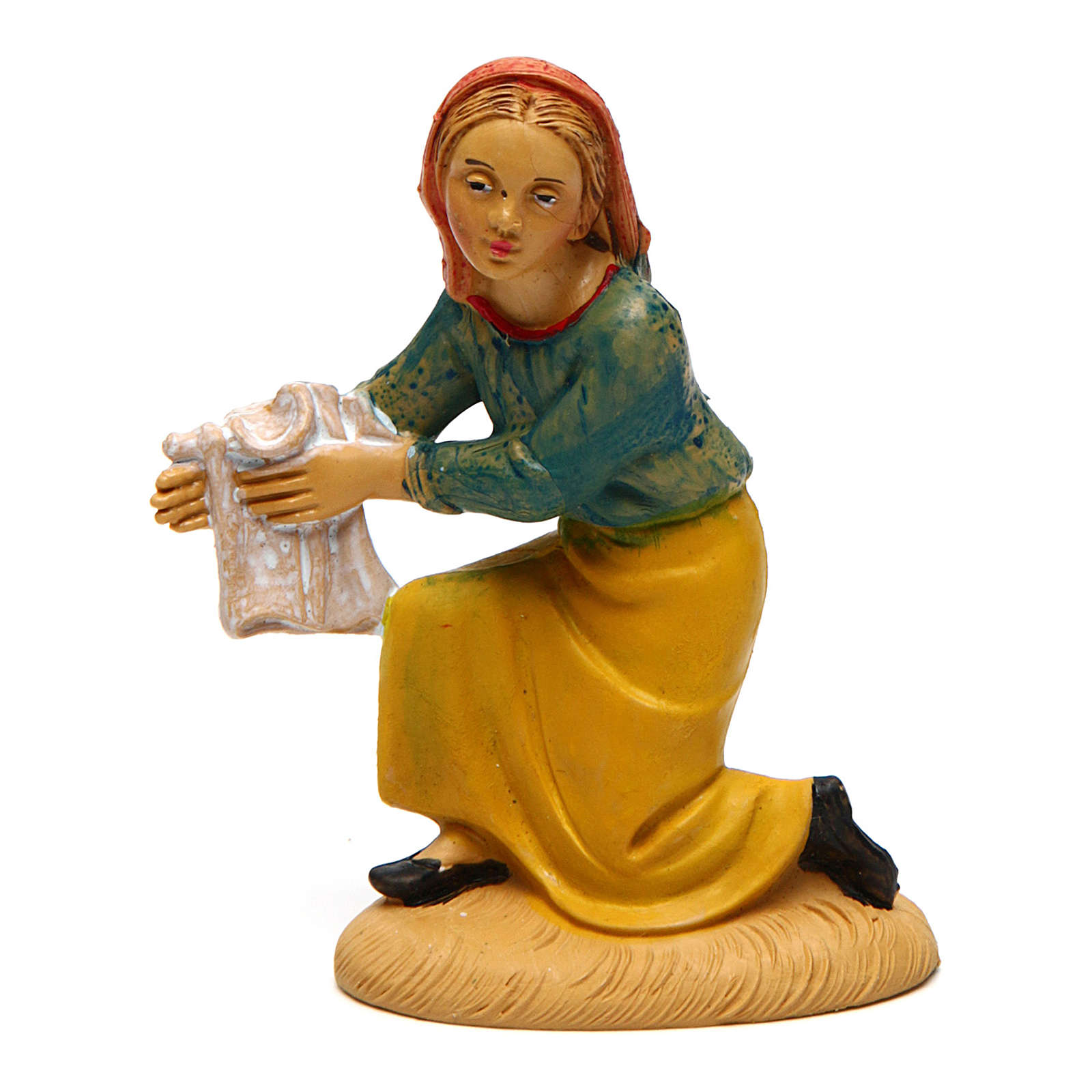Mujer que lava ropa para belén de 10 cm de altura media 3