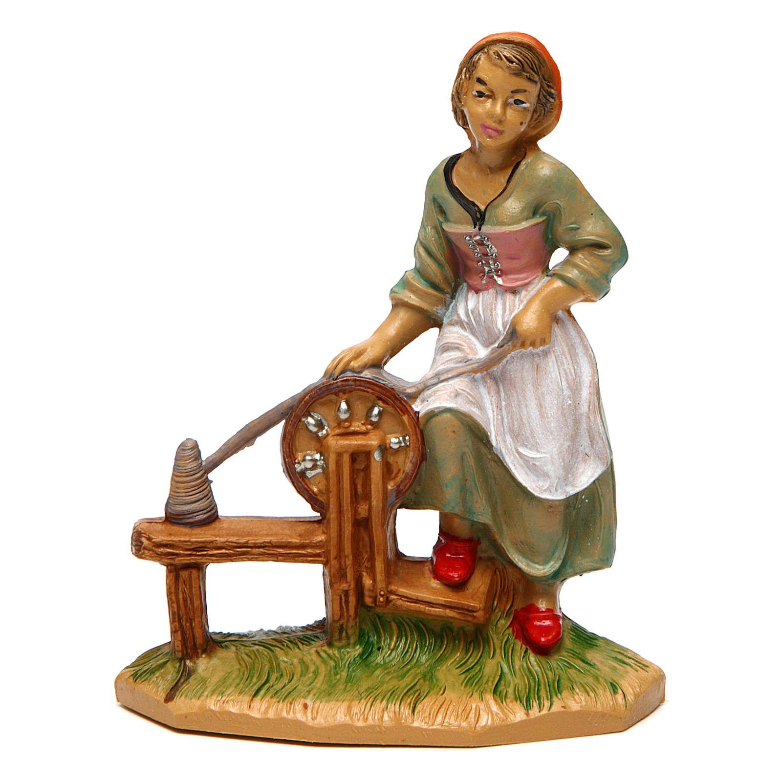 Woman Fabric Spinner of 10 cm Nativity 3