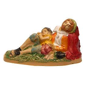 Nativity Scene figurines: Lying man with child for Nativity Scene 10 cm