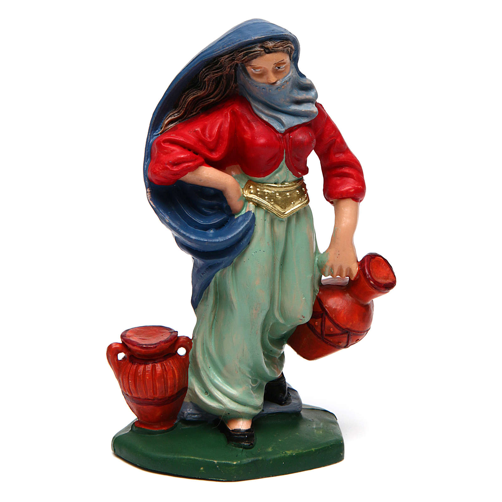 Veiled woman with urns for Nativity Scene 10 cm 3