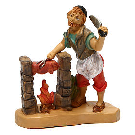 Figuras de Presépio: Açougueiro com porco para presépio de 10 cm