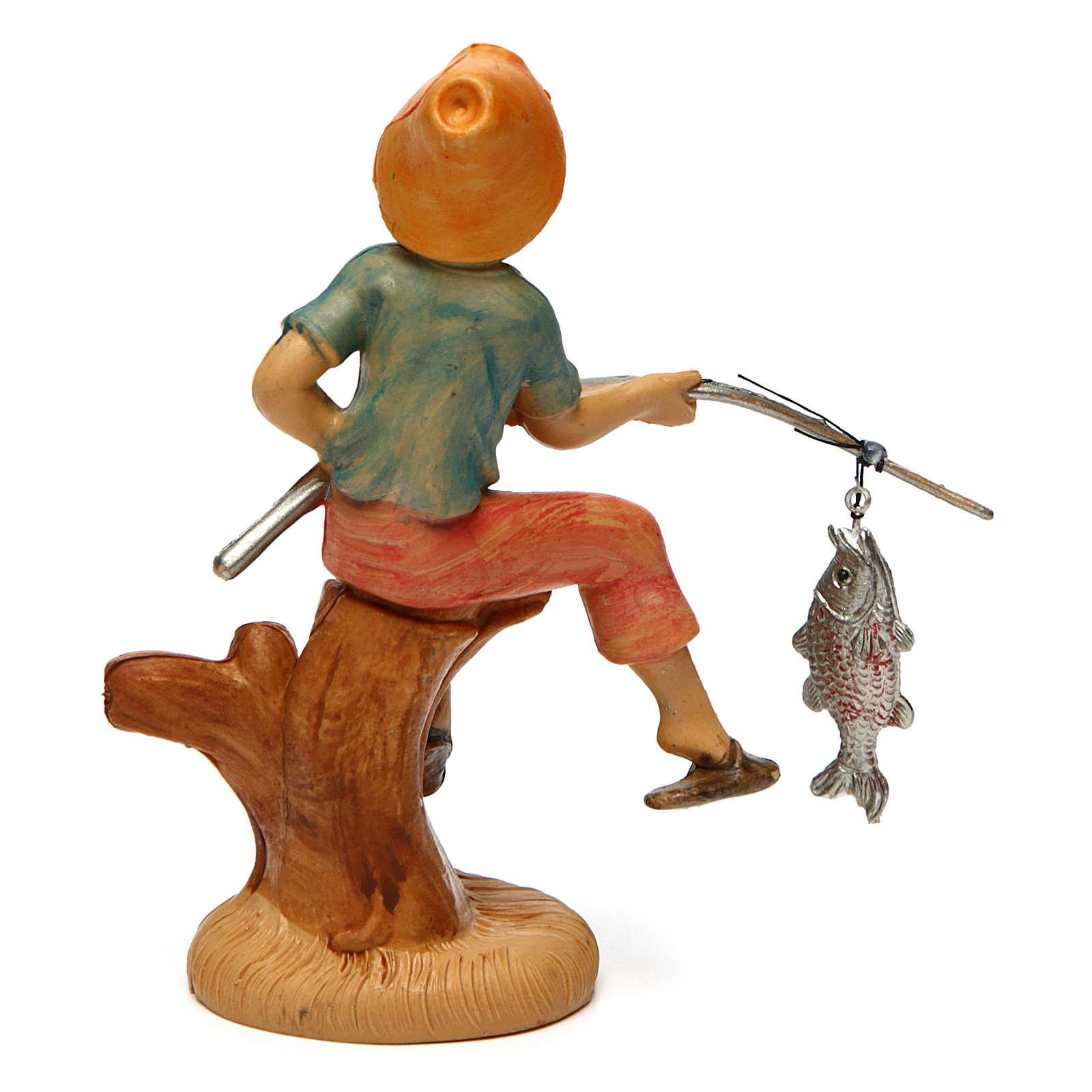 Uomo che pesca per presepe di 10 cm 3
