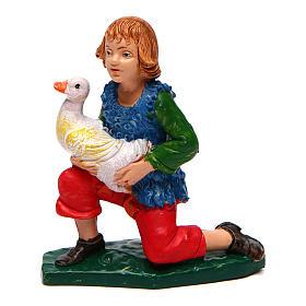 Figuras del Belén: Niño con ganso para belén 10 cm de altura media
