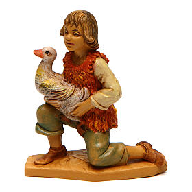 Nativity Scene figurines: Boy with duck for Nativity Scene 10 cm