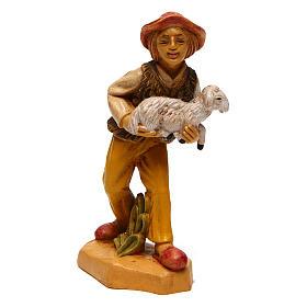 Hombre con oveja para belén de 10 cm de altura media s1