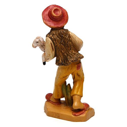 Hombre con oveja para belén de 10 cm de altura media 2
