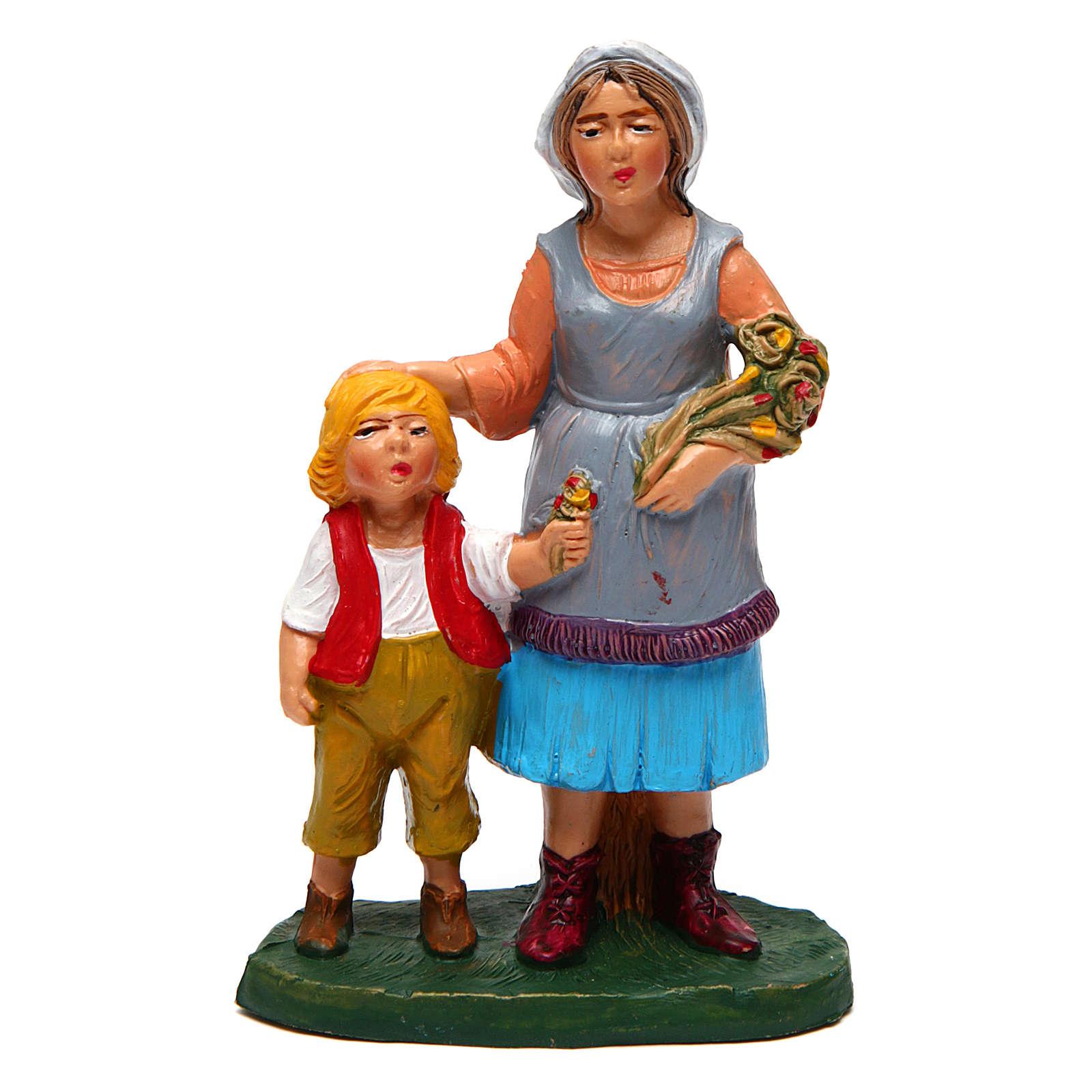 Mujer con niño para belén de 10 cm de altura media 3