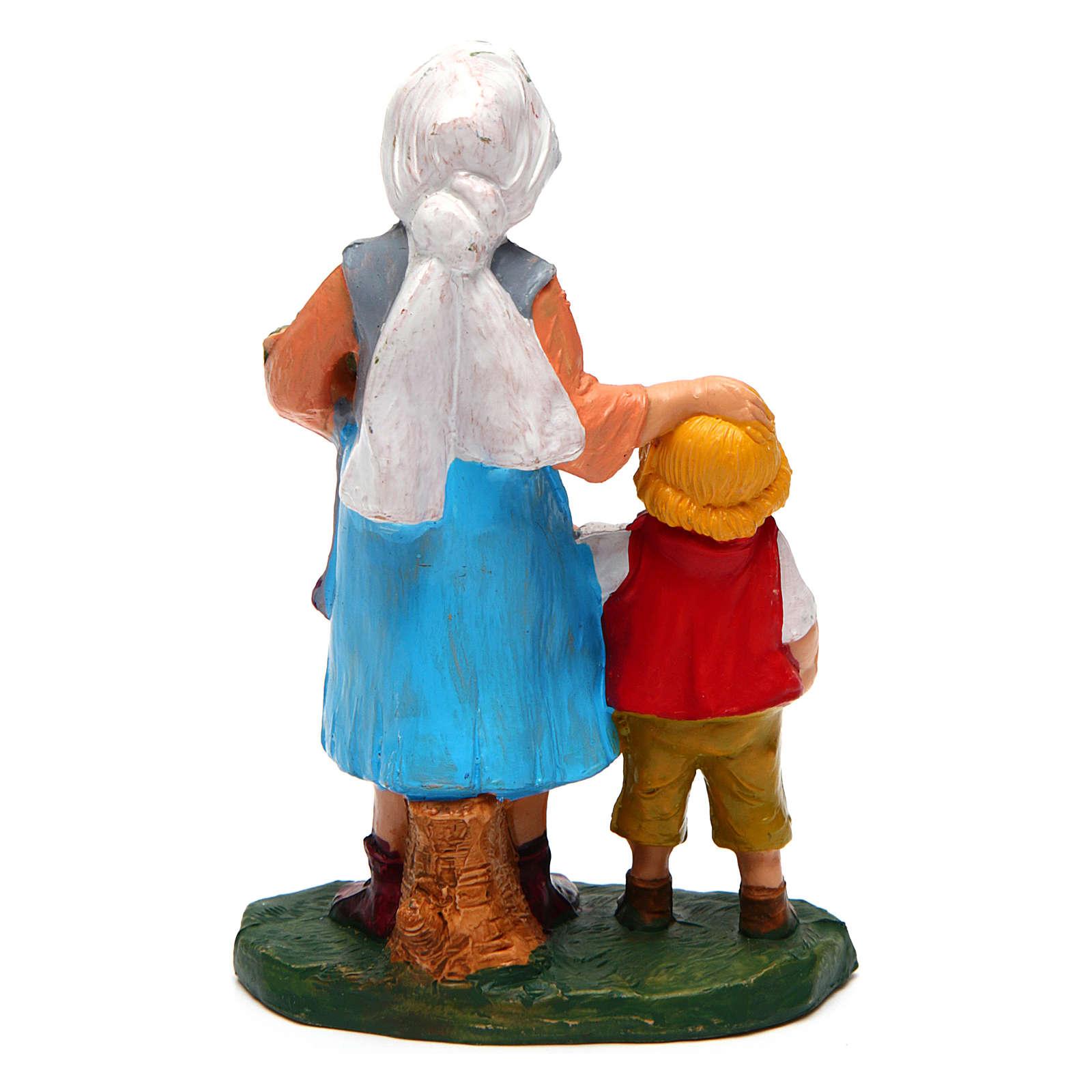 Donna con bambino per presepe di 10 cm  3