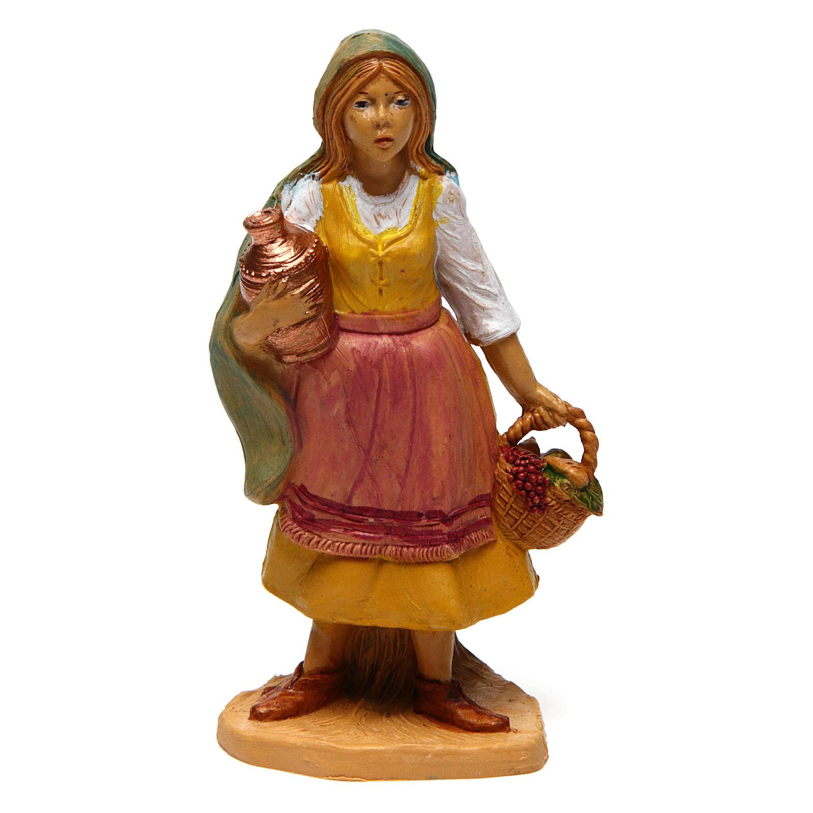 Mujer con cesta y jarrón de 10 cm de altura media belén 3