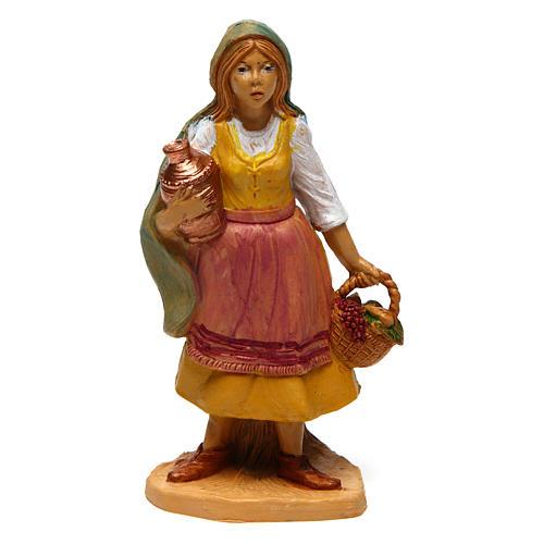 Mujer con cesta y jarrón de 10 cm de altura media belén 1