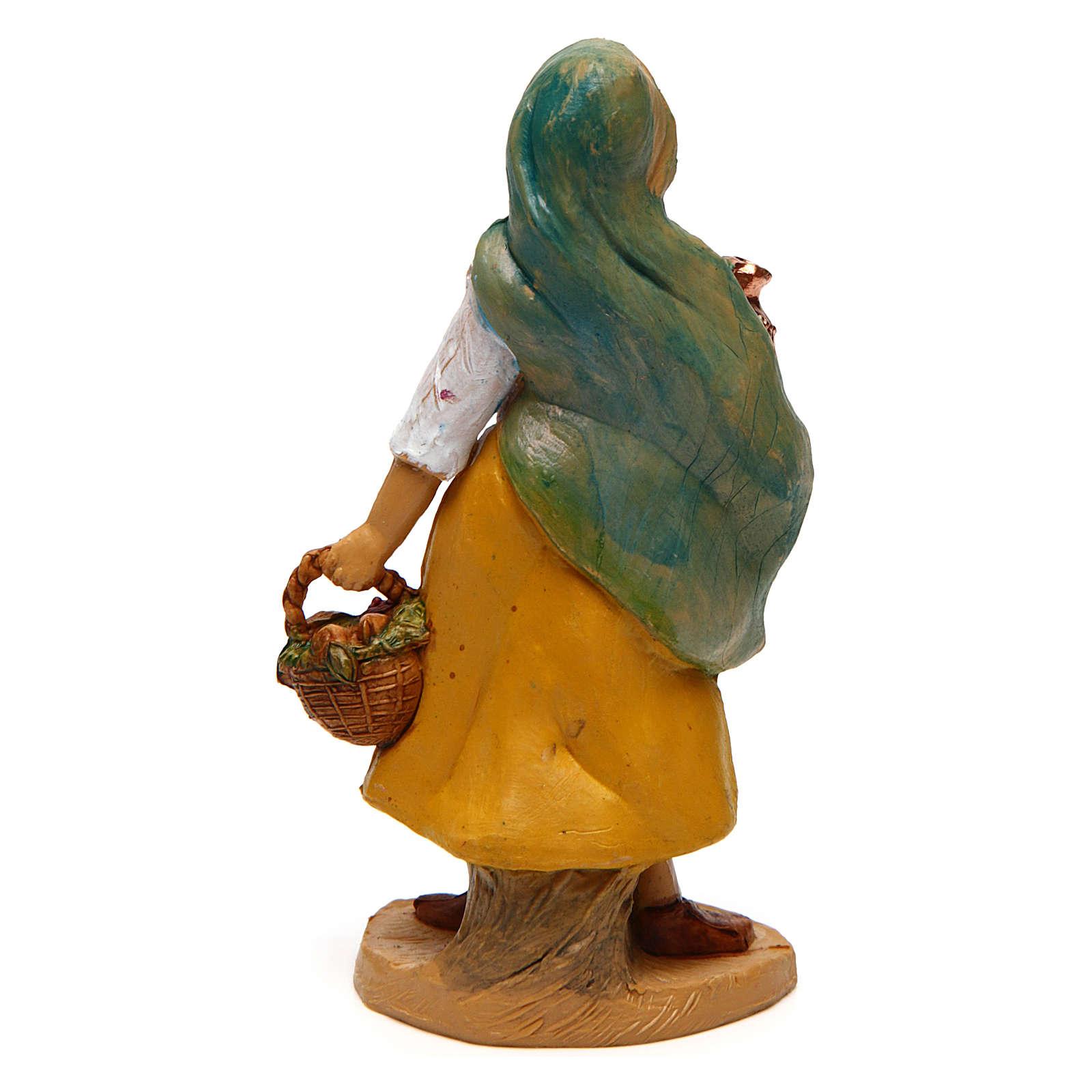 Donna con cesto e vaso di 10 cm presepe 3