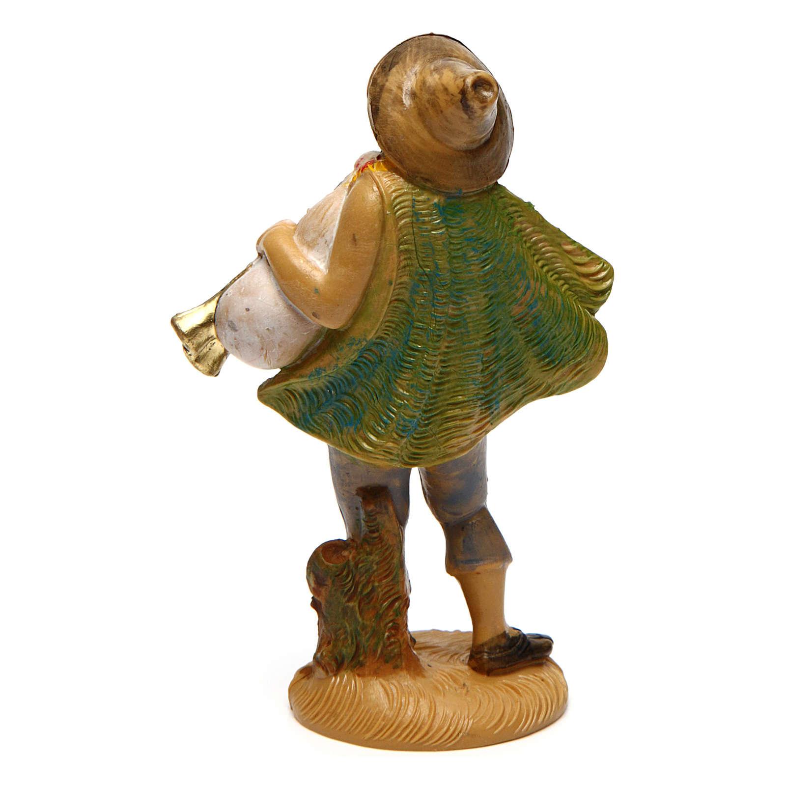 Hombre con gaita para belén de 10 cm de altura media 3