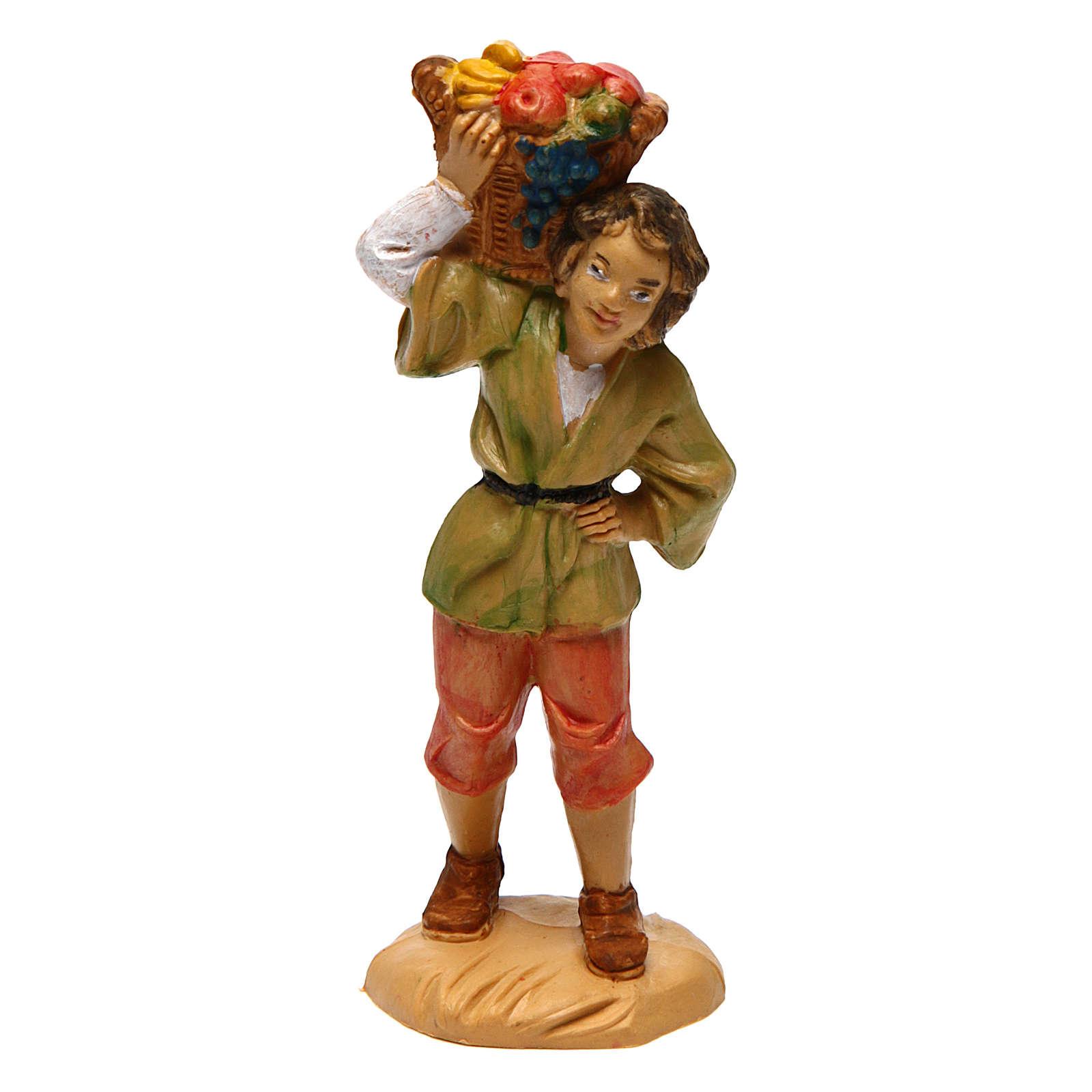 Joven con cesta de fruta para belén de 10 cm de altura media 3