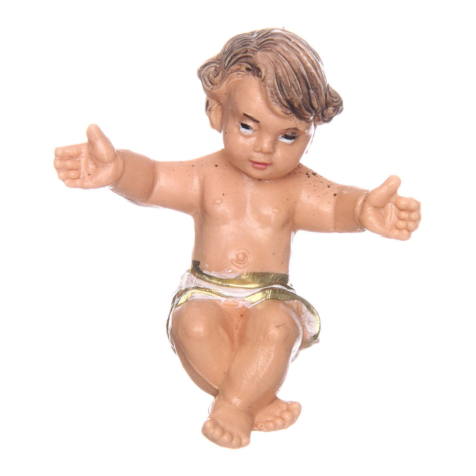 Gesù bambino nella culla per presepe di 10 cm  3
