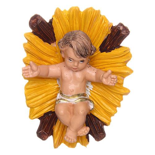 Gesù bambino nella culla per presepe di 10 cm  1