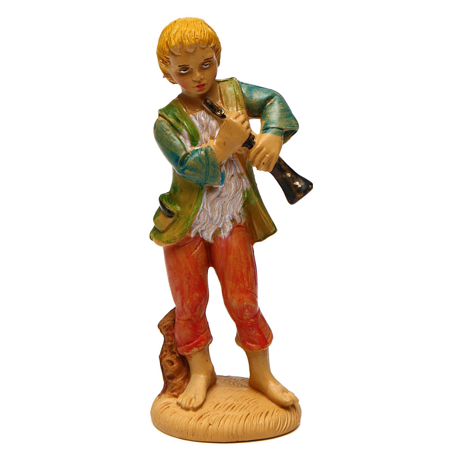 Joven con flauta para belén de 10 cm de altura media 3