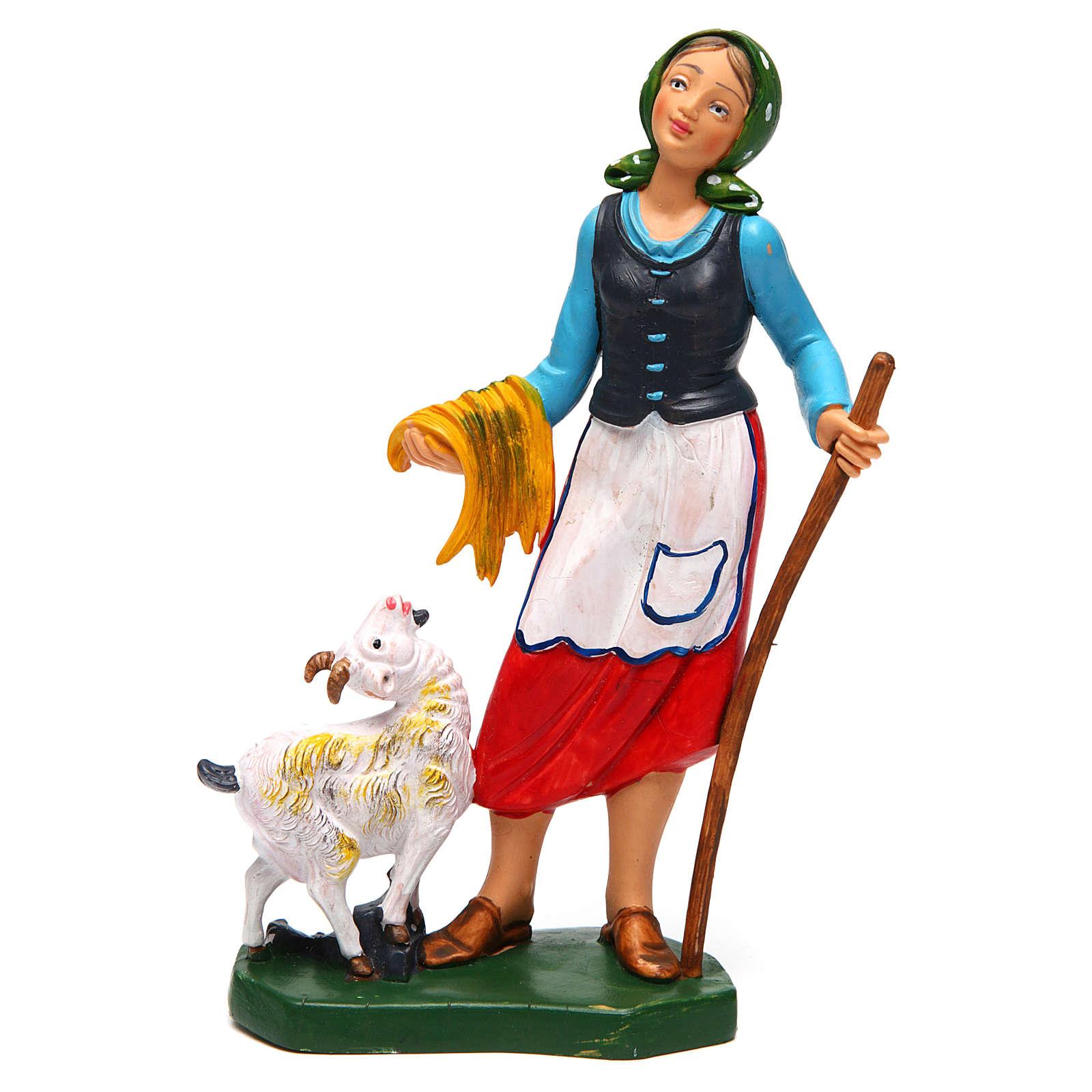 Donna con pecora di 16 cm presepe 3