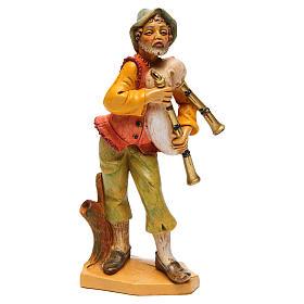 Santons crèche: Homme avec cornemuse sur côté gauche crèche 16 cm