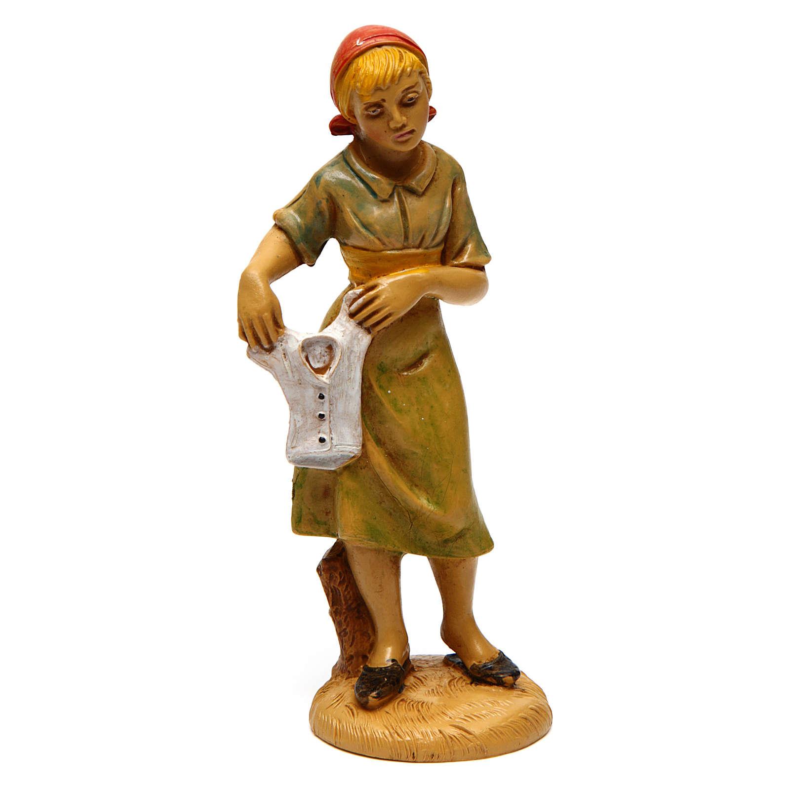 Mujer que tende para belén 12 cm de altura media 3