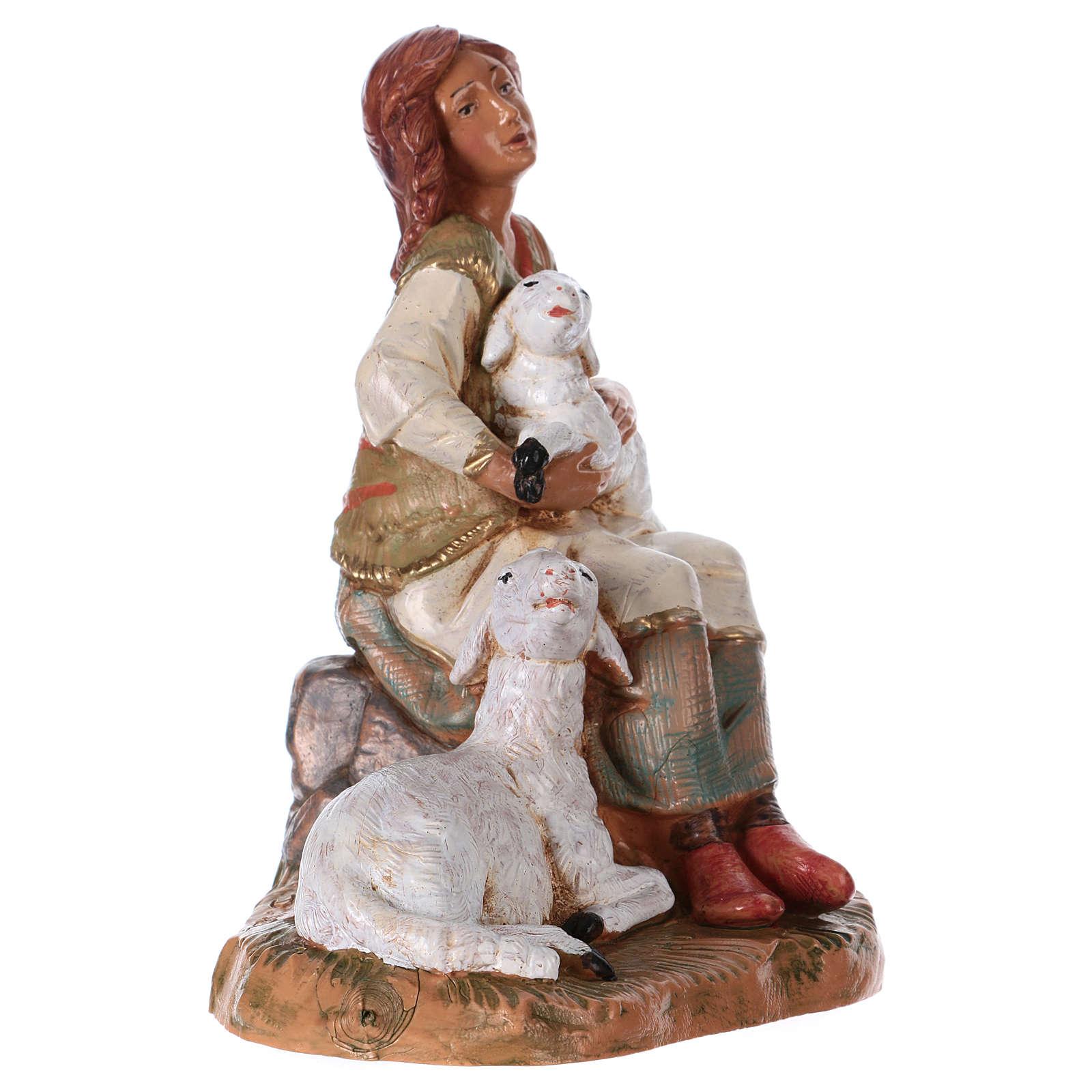 Hirtenmädchen mit Schafen für 19 cm Fontanini Krippe 4