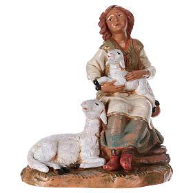 Hirtenmädchen mit Schafen für 19 cm Fontanini Krippe s1