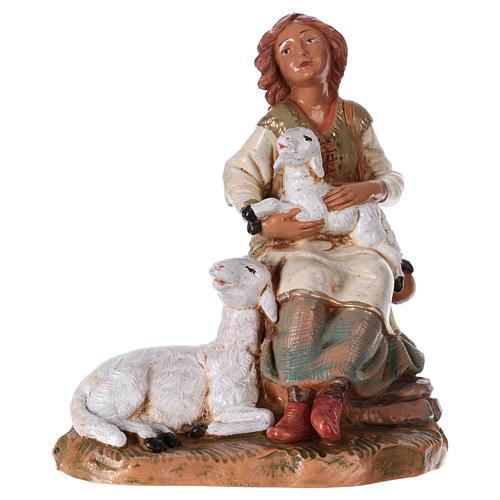 Hirtenmädchen mit Schafen für 19 cm Fontanini Krippe 1