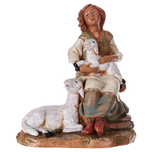 Pastora con ovejas 19 cm de altura media Fontanini 1