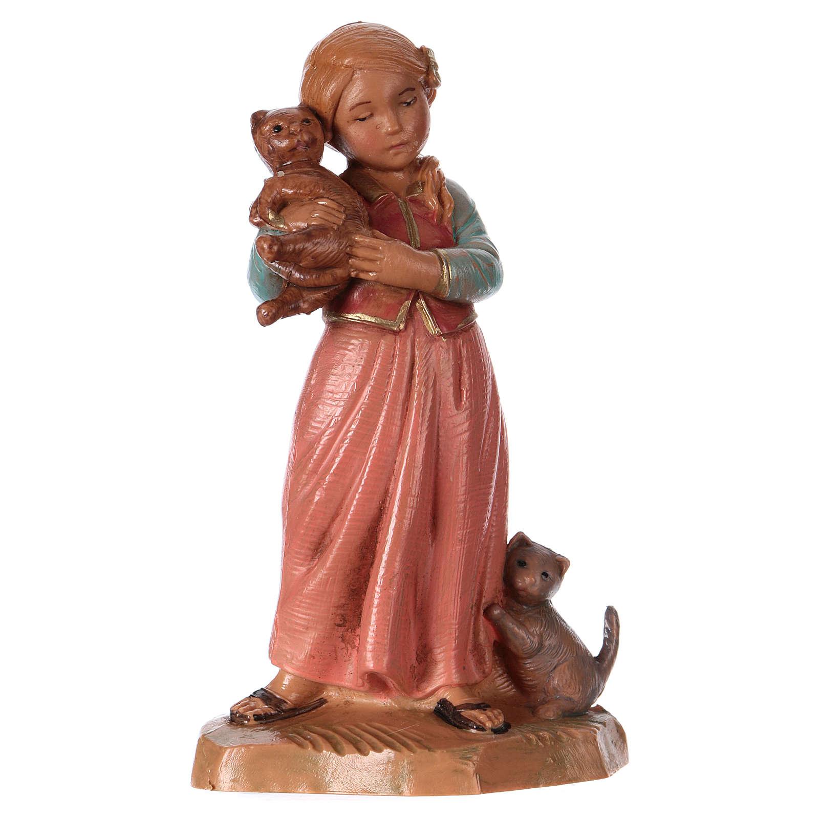 Petite fille avec chat crèche 12 cm Fontanini 4