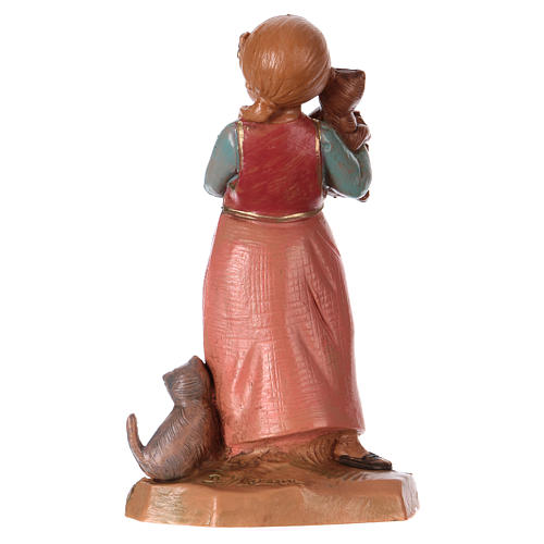 Petite fille avec chat crèche 12 cm Fontanini 2