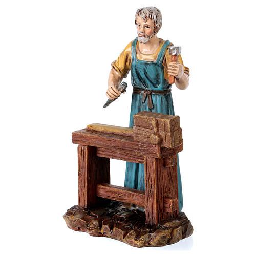Carpenter at work table for 12 cm Nativity scene, Martino Landi 2