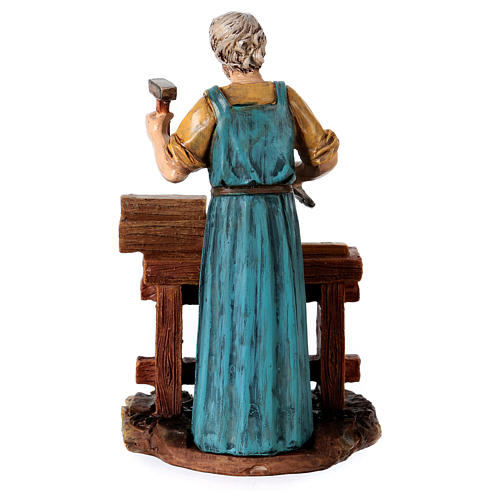 Carpenter at work table for 12 cm Nativity scene, Martino Landi 3