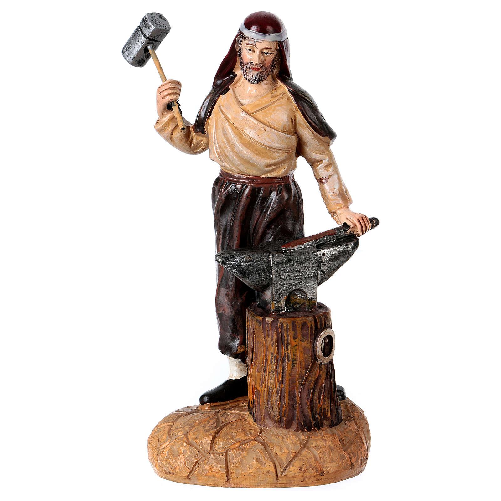 Blacksmith with anvil for 12 cm Nativity Scene, Landi line 3