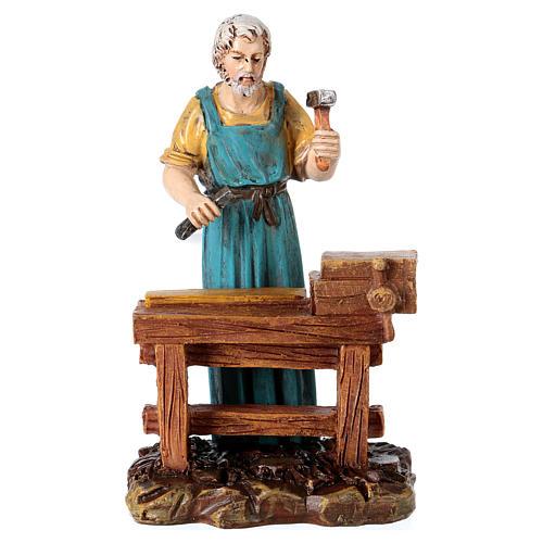 Carpenter at work table for 10 cm Nativity scene, Martino Landi 1
