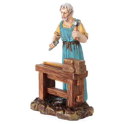 Carpenter at work table for 10 cm Nativity scene, Martino Landi 2