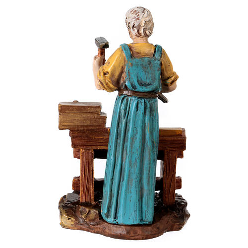Carpenter at work table for 10 cm Nativity scene, Martino Landi 3