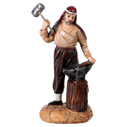 Blacksmith with anvil for 10 cm Nativity scene, Martino Landi 1