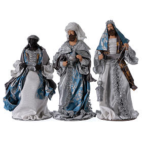Reis Magos resina azul prata estilo Shabby Chic para presépio com figuras altura média 32 cm s1