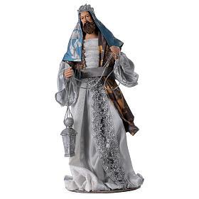 Reis Magos resina azul prata estilo Shabby Chic para presépio com figuras altura média 32 cm s3