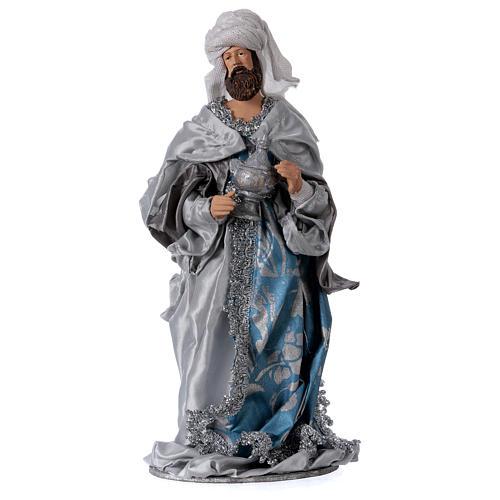 Reis Magos resina azul prata estilo Shabby Chic para presépio com figuras altura média 32 cm 2