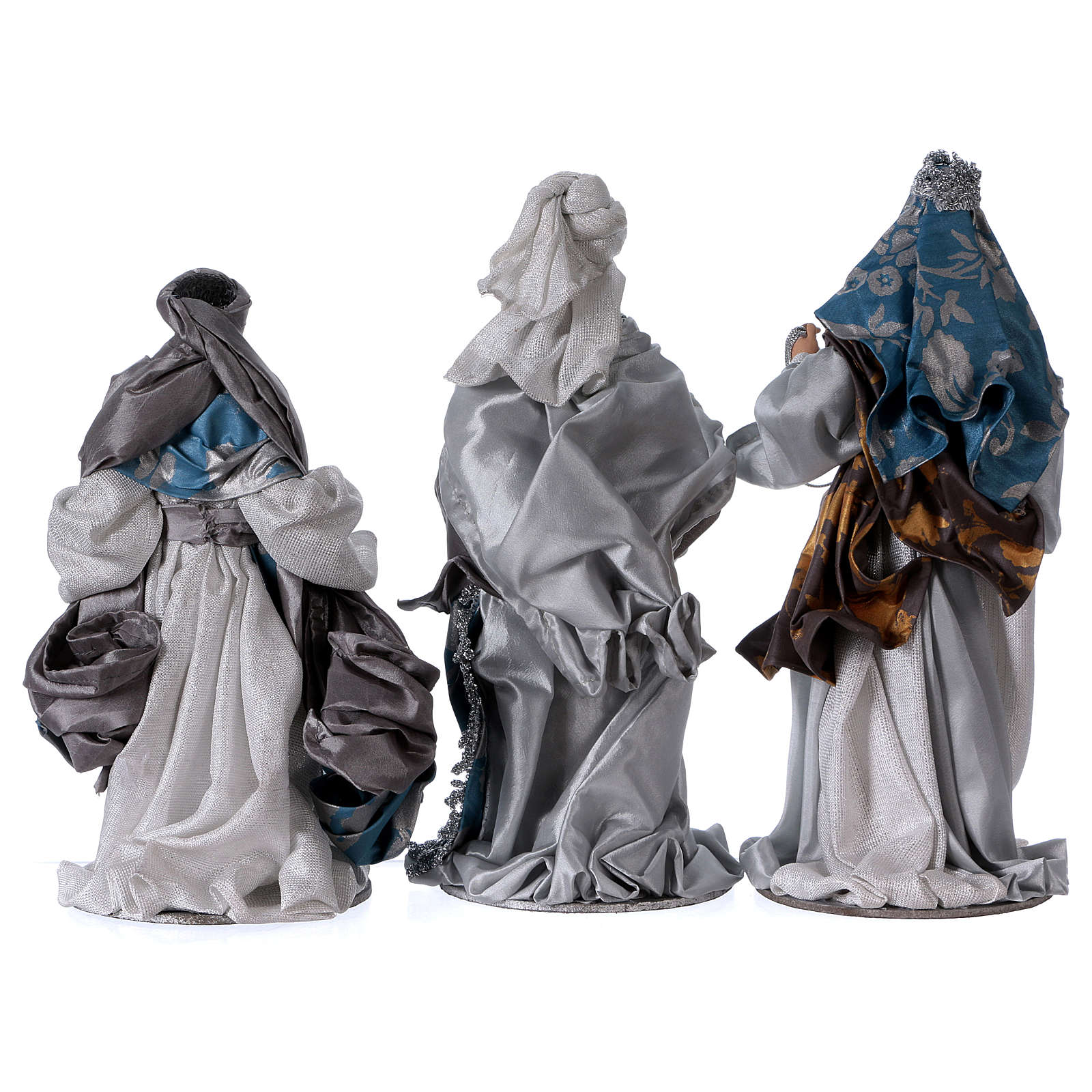 Three Wise Kings in resin Shabby Chic style with blue and silver color clothes 32 cm 3
